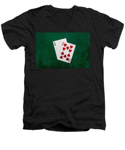 Blackjack Twenty One 1 Men's V-Neck T-Shirt