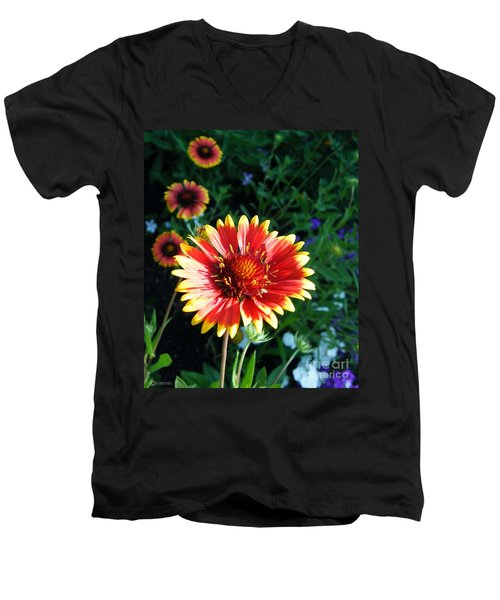 Blanket Flower Men's V-Neck T-Shirt by Lizi Beard-Ward