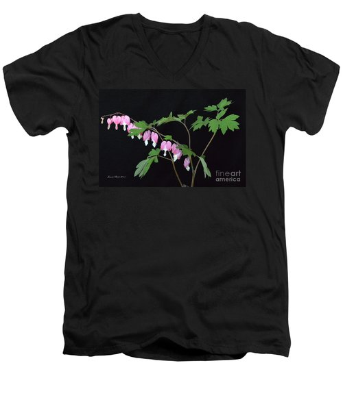 Men's V-Neck T-Shirt featuring the photograph Bleeding Hearts 2 by Jeannie Rhode