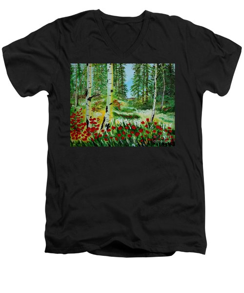 Men's V-Neck T-Shirt featuring the painting Bliss by Leslie Allen