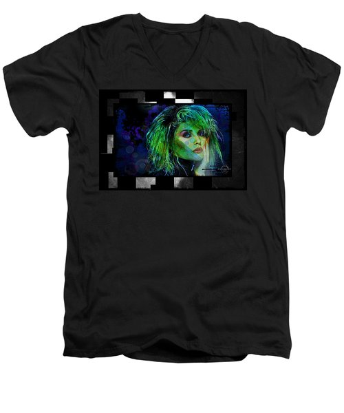 Blondie - Debbie Harry Men's V-Neck T-Shirt by Absinthe Art By Michelle LeAnn Scott