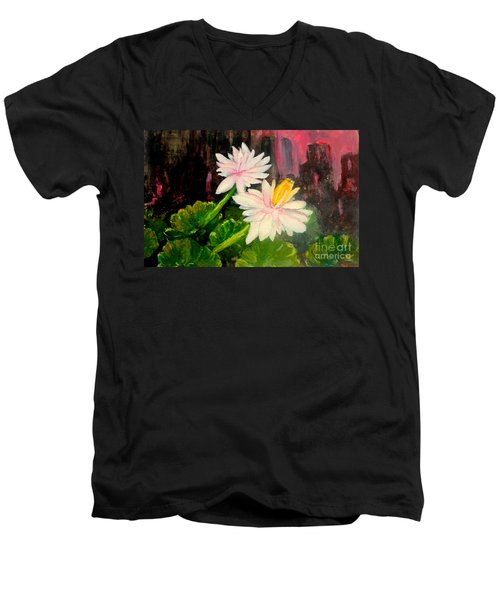 Blooming At Night  Men's V-Neck T-Shirt