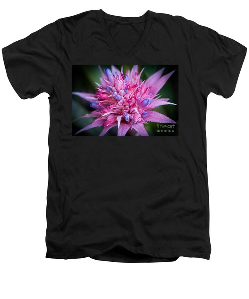 Men's V-Neck T-Shirt featuring the photograph Blooming Bromeliad by John Wadleigh