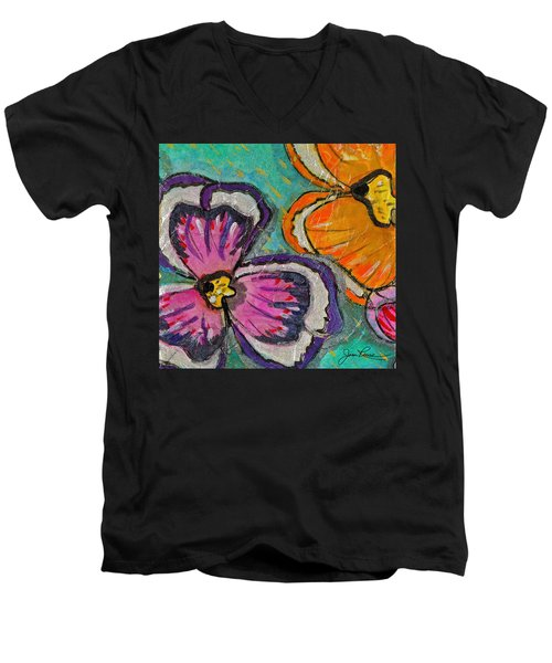 Men's V-Neck T-Shirt featuring the painting Blooming Flowers by Joan Reese