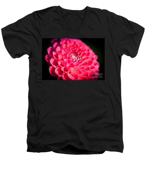 Men's V-Neck T-Shirt featuring the photograph Blooming Red Flower by John Wadleigh
