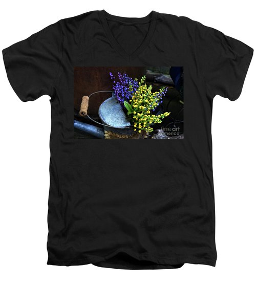 Blue And Yellow Flowers Men's V-Neck T-Shirt by Mary Machare