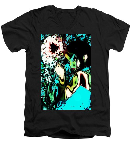 Men's V-Neck T-Shirt featuring the photograph Blue Beauty by Jessica Shelton