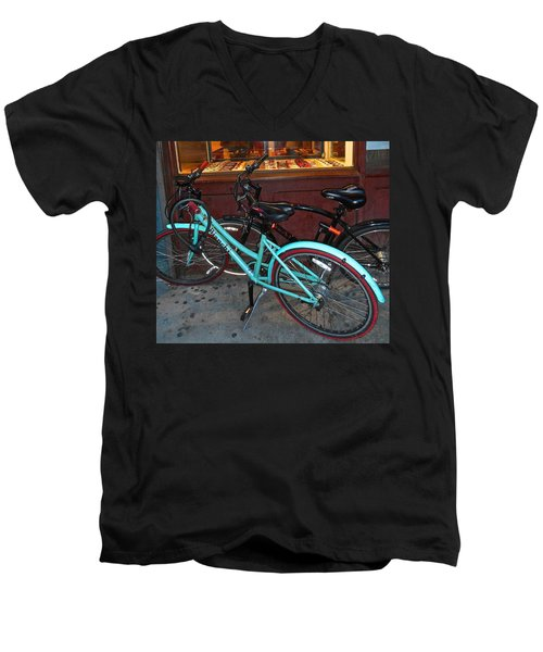 Men's V-Neck T-Shirt featuring the photograph Blue Bianchi Bike by Joan Reese