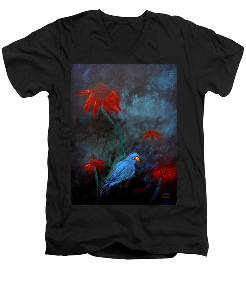 Men's V-Neck T-Shirt featuring the painting Blue Bird by Cynthia Amaral