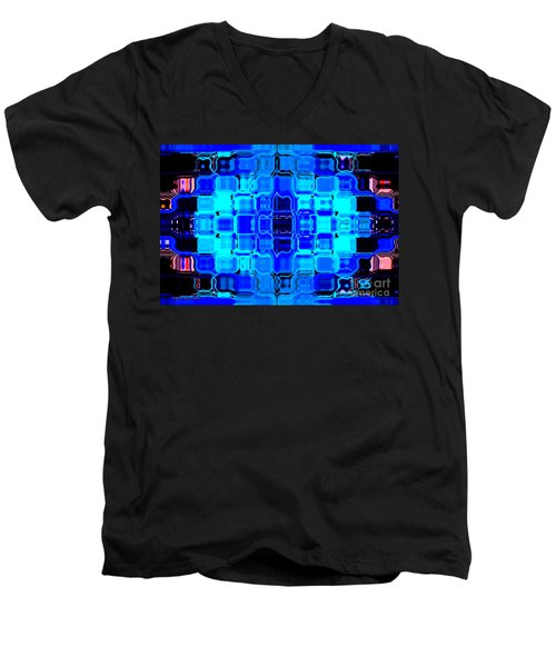 Men's V-Neck T-Shirt featuring the digital art Blue Bubble Glass by Anita Lewis