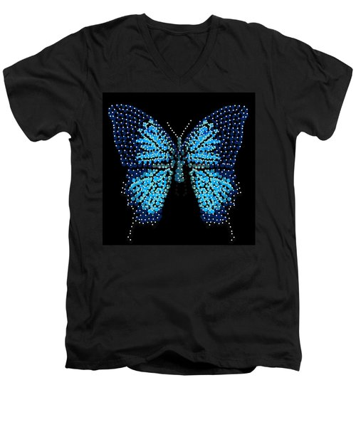 Blue Butterfly Black Background Men's V-Neck T-Shirt