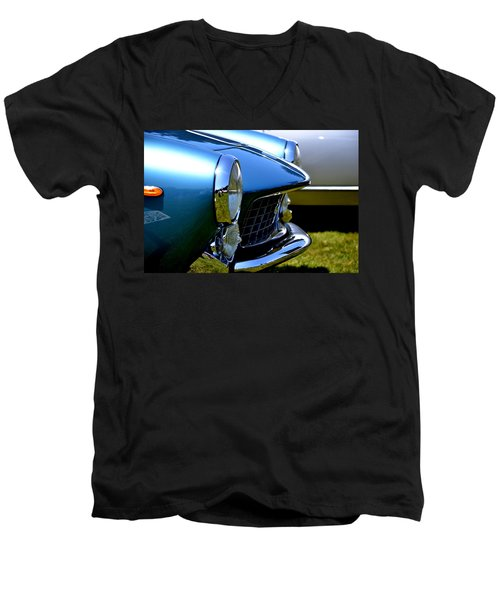 Men's V-Neck T-Shirt featuring the photograph Blue Car by Dean Ferreira