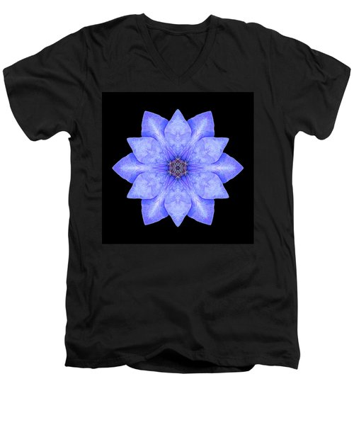 Blue Clematis Flower Mandala Men's V-Neck T-Shirt by David J Bookbinder