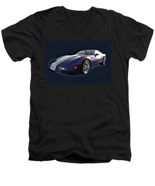 Blue Corvette Car Men's V-Neck T-Shirt
