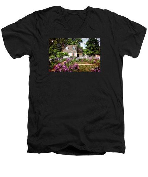 Blue Cottage Men's V-Neck T-Shirt by Shari Nees