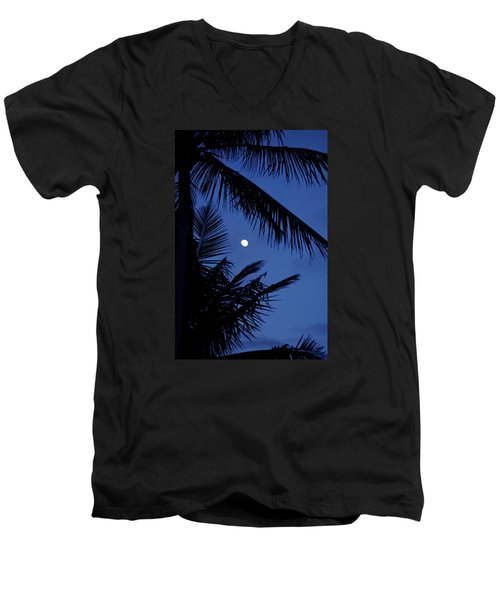 Men's V-Neck T-Shirt featuring the photograph Blue Dawn Moon by Lehua Pekelo-Stearns