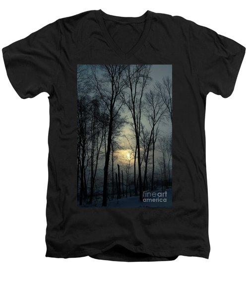 Blue Daybreak Men's V-Neck T-Shirt by Karol Livote