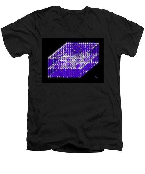Blue Diamond Grid Men's V-Neck T-Shirt