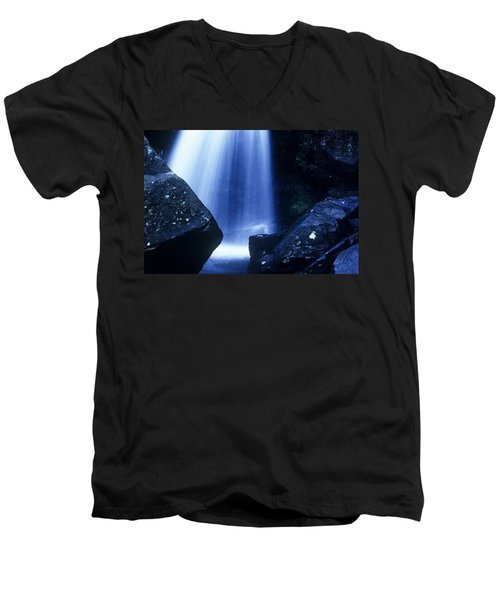 Men's V-Neck T-Shirt featuring the photograph Blue Falls by Rodney Lee Williams