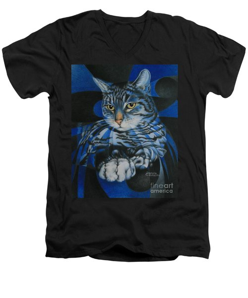 Men's V-Neck T-Shirt featuring the painting Blue Feline Geometry by Pamela Clements