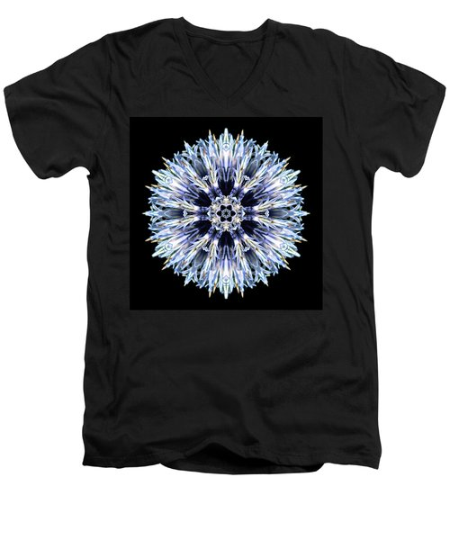 Blue Globe Thistle Flower Mandala Men's V-Neck T-Shirt by David J Bookbinder