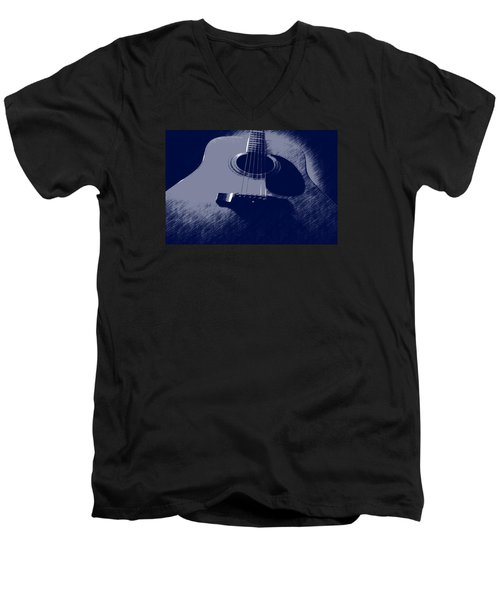 Men's V-Neck T-Shirt featuring the photograph Blue Guitar by Photographic Arts And Design Studio
