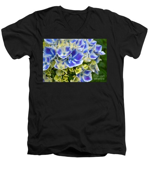 Men's V-Neck T-Shirt featuring the photograph Blue Harlequin Hydrandea Flower by Valerie Garner