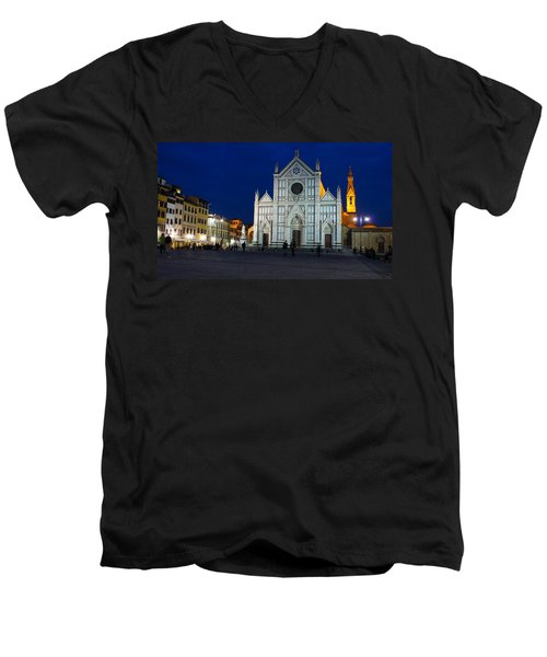 Blue Hour - Santa Croce Church Florence Italy Men's V-Neck T-Shirt