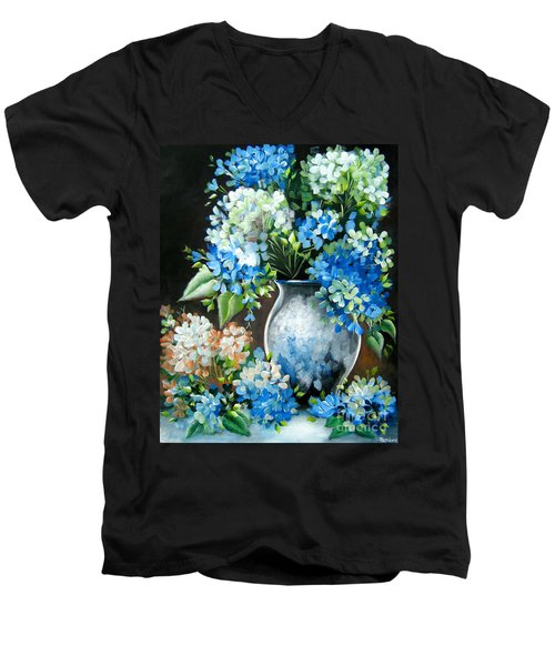 Men's V-Neck T-Shirt featuring the painting Blue Hydrangeas by Patrice Torrillo
