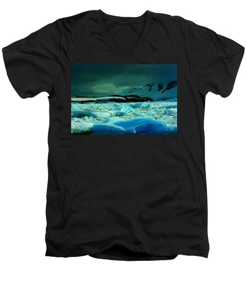 Men's V-Neck T-Shirt featuring the photograph Blue Ice Flow by Amanda Stadther
