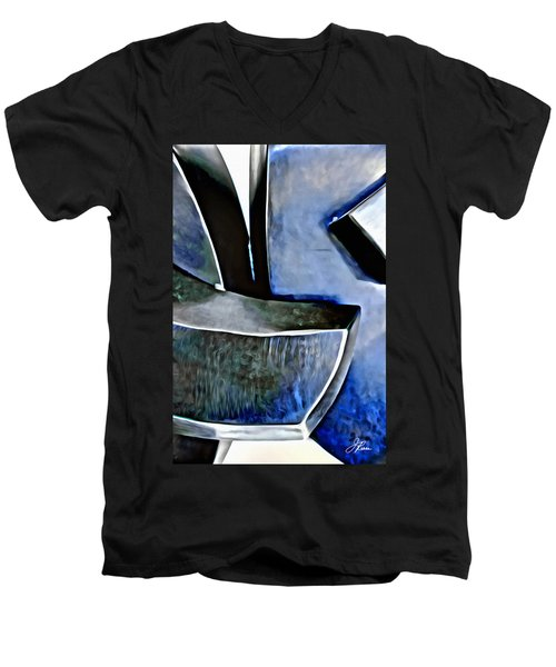 Blue Iron Men's V-Neck T-Shirt by Joan Reese