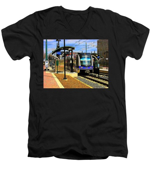 Men's V-Neck T-Shirt featuring the photograph Blue Line by Rodney Lee Williams
