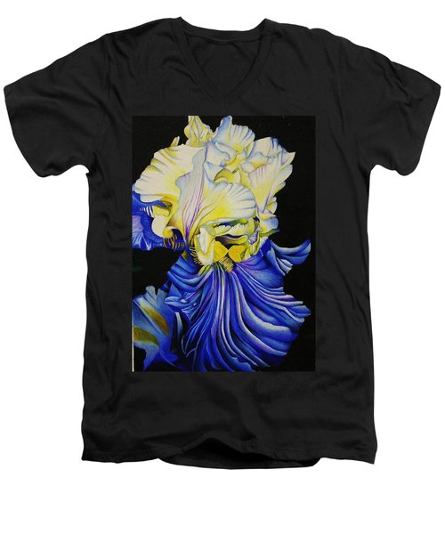 Men's V-Neck T-Shirt featuring the drawing Blue Magic by Bruce Bley
