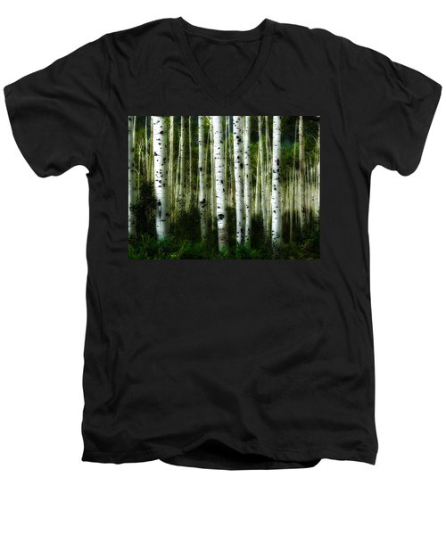 Men's V-Neck T-Shirt featuring the photograph Blue Mood Aspens I by Lanita Williams