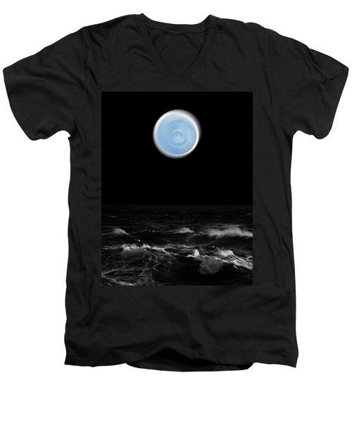 Blue Moon Over The Sea Men's V-Neck T-Shirt