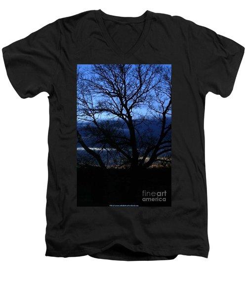 Blue Moon Sunrise Men's V-Neck T-Shirt by PainterArtist FIN
