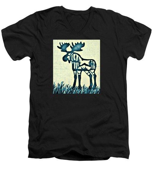 Blue Moose Men's V-Neck T-Shirt by Larry Campbell