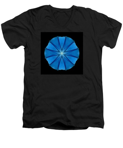 Blue Morning Glory Flower Mandala Men's V-Neck T-Shirt by David J Bookbinder