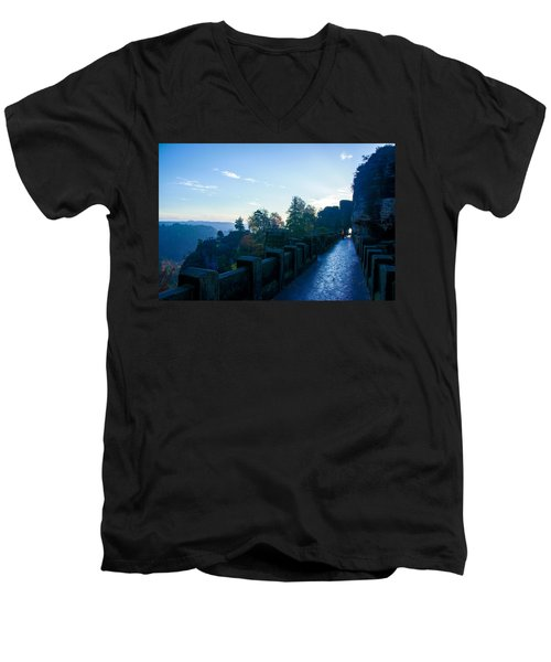 Blue Morning On The Bastei Men's V-Neck T-Shirt