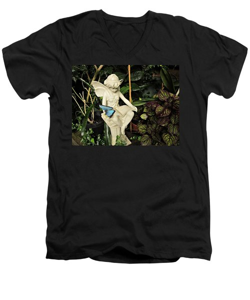 Blue Morpho On Statue Men's V-Neck T-Shirt