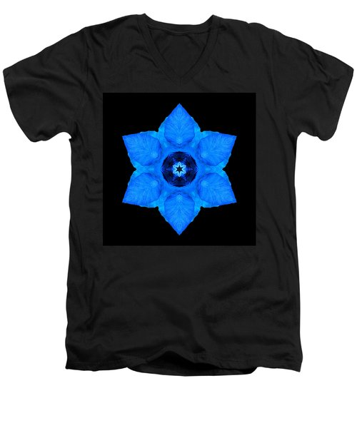 Blue Pansy II Flower Mandala Men's V-Neck T-Shirt by David J Bookbinder