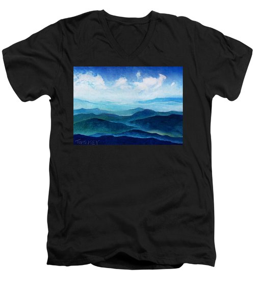 Blue Ridge Blue Skyline Sheep Cloud Men's V-Neck T-Shirt