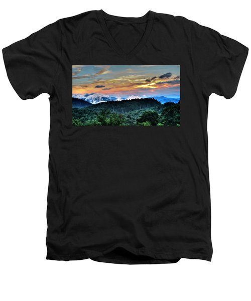 Blue Ridge Mountain Sunrise  Men's V-Neck T-Shirt