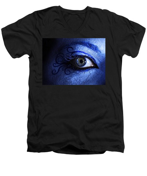 Blue Men's V-Neck T-Shirt
