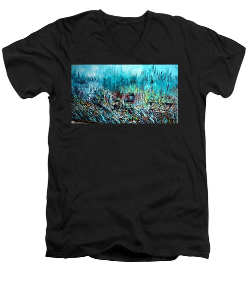 Blue Skies Chicago - Sold Men's V-Neck T-Shirt by George Riney
