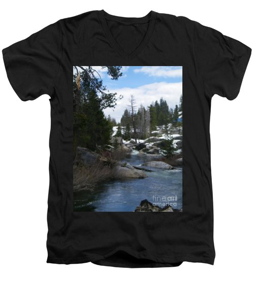 Men's V-Neck T-Shirt featuring the photograph Blue Skies Of Winter by Bobbee Rickard