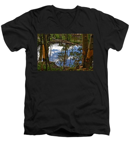 Men's V-Neck T-Shirt featuring the photograph Blue Sky Reflecting by Jeremy Rhoades