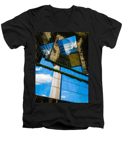 Men's V-Neck T-Shirt featuring the photograph Blue Sky Reflections On A London Skyscraper by Peta Thames