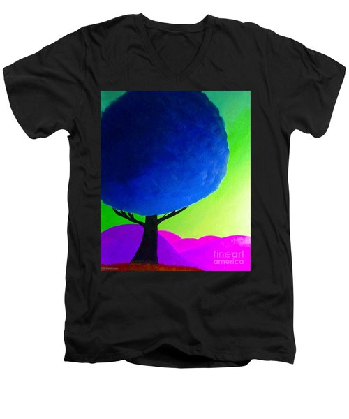 Men's V-Neck T-Shirt featuring the painting Blue Tree by Anita Lewis