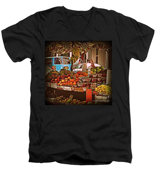 Men's V-Neck T-Shirt featuring the photograph Blue Van by Miriam Danar
